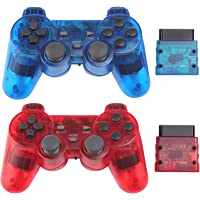 Wireless Controller for PS2 Play Station 2 Dual Vibration 2 - ClearBlue and ClearRed
