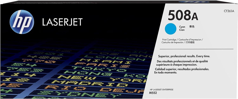 Hewlett-Packard CF361A CF 361A 508A - Tóner original para HP Color Laserjet Enterprise M 553 N, color cian, potencia: aprox. 5000 páginas/5%