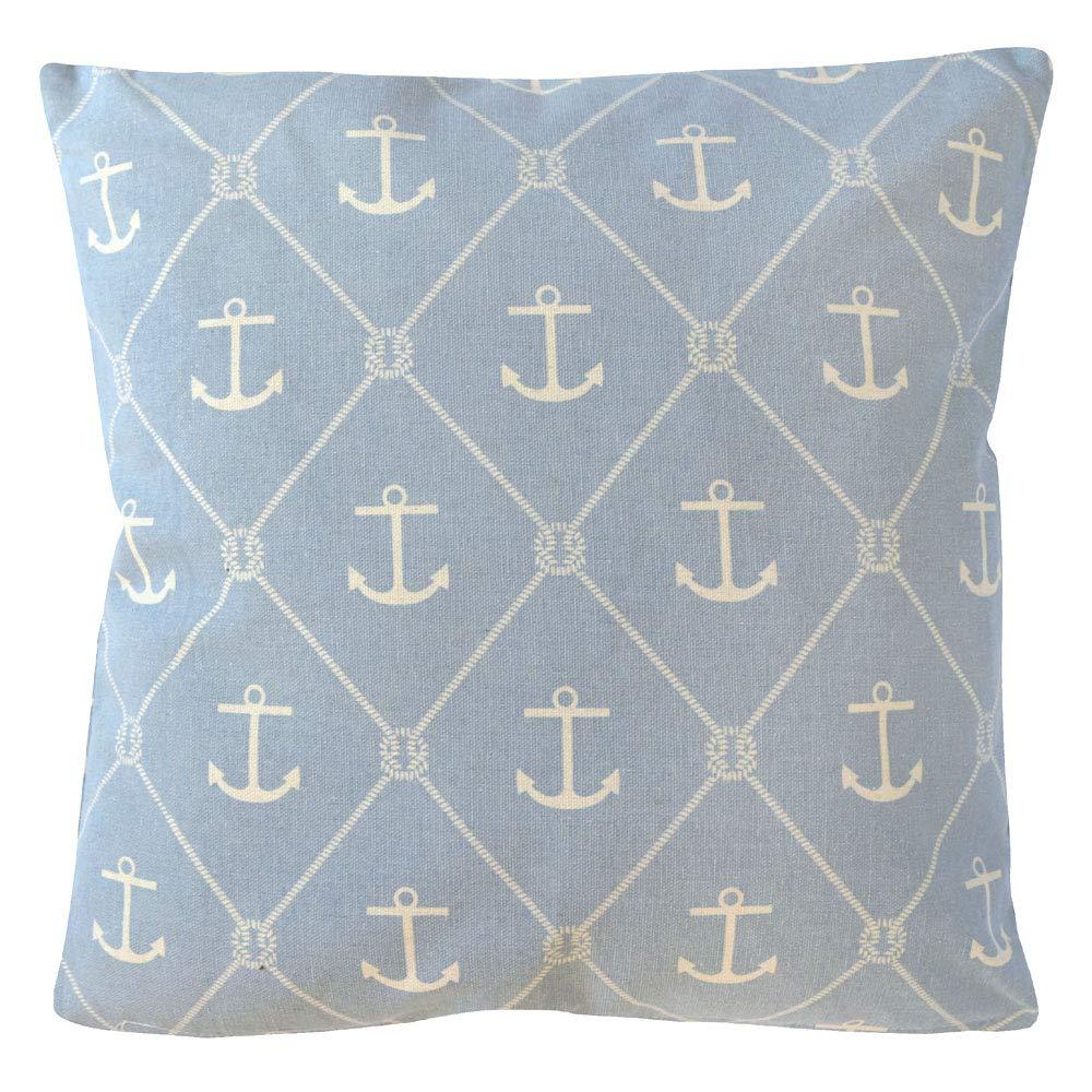 Kissen SEASIDE hellblau blau weiß mit Ankern Hamptons chic maritim Long Island