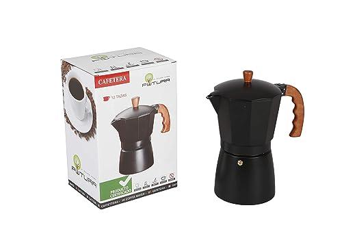 Cafetera clásica aluminio marrón/negro con asa imitando ...