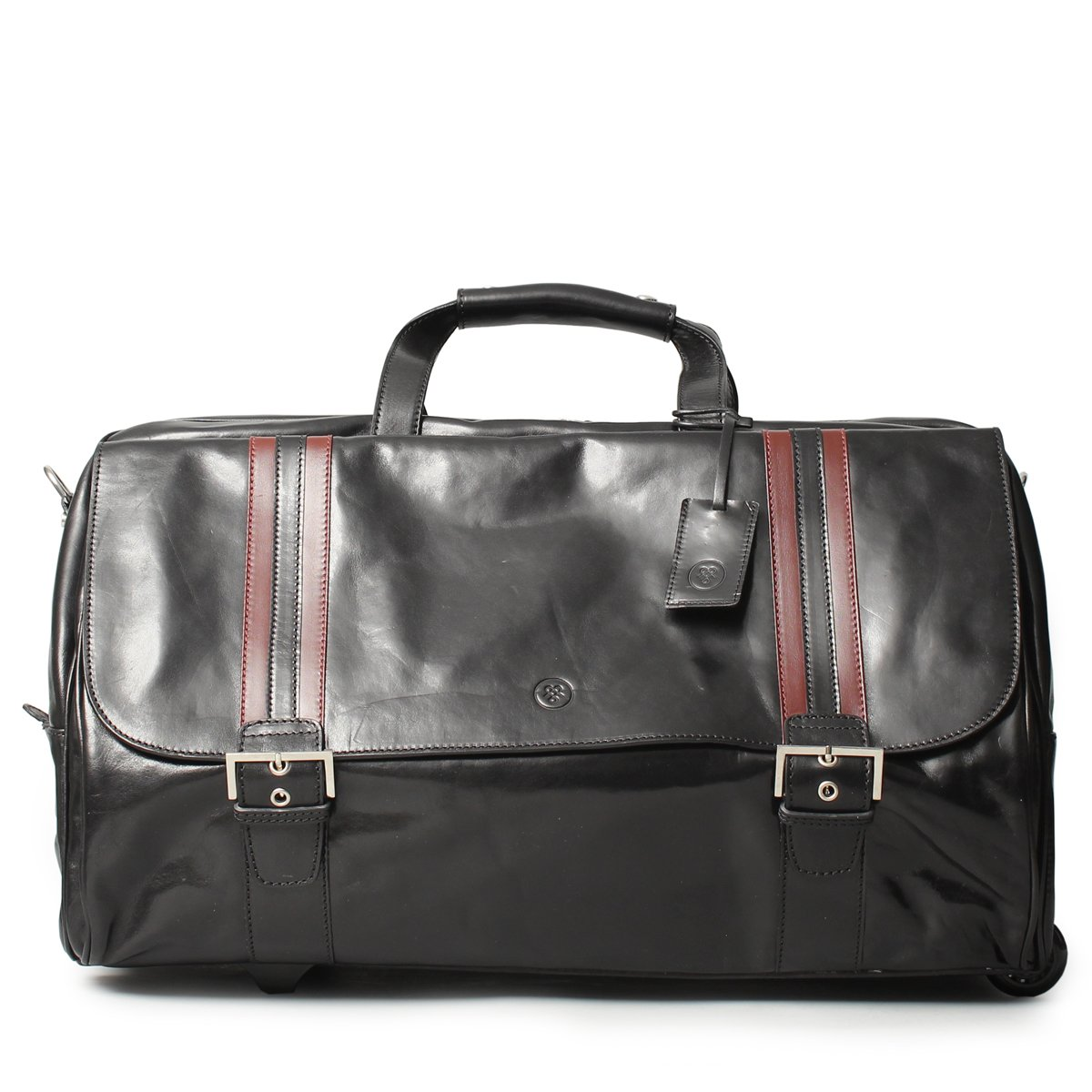 Maxwell Scott Luxury Black Leather Wheeled Travel Bag (The DinoL) - Large