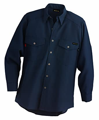 35c56a53f063 Amazon.com  Workrite 290NX45NB38-0L Flame Resistant 4.5 oz Nomex IIIA Long  Sleeve Utility Shirt