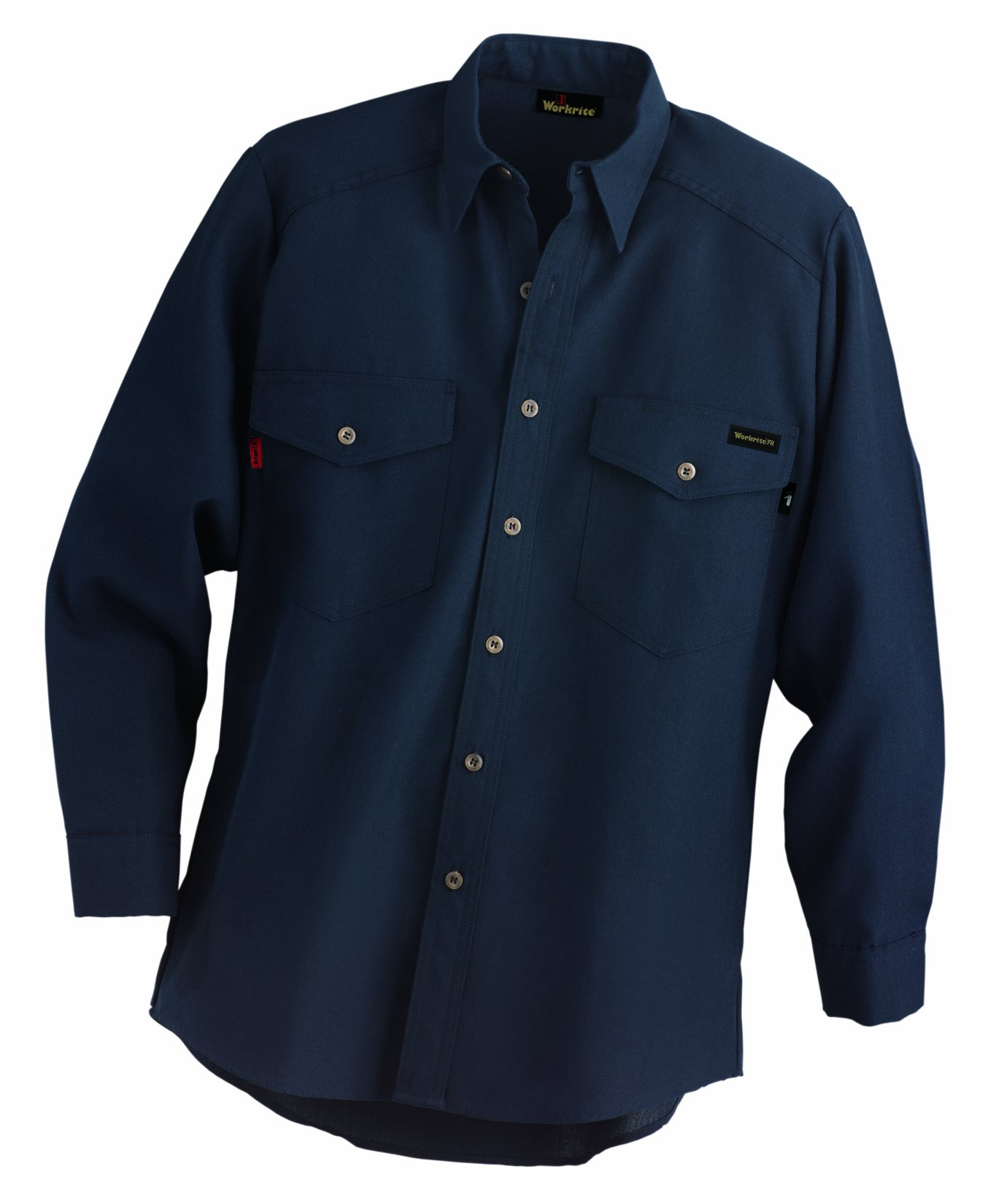Workrite 290NX45NB40-0R Flame Resistant 4.5 oz Nomex IIIA Long Sleeve Utility Shirt, Button Cuff, 40 Chest Size, Regular Length, Navy Blue