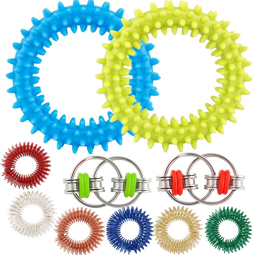 Vanmor Silent Fidget Toys Flippy Bike Chains Hedgehog Bracelet Sensory Stress Relief and Anti-Anxiety Gifts for Kids Classroom /& Adult Office 10Pcs Sensory Toy Set with Spiky Finger Rings