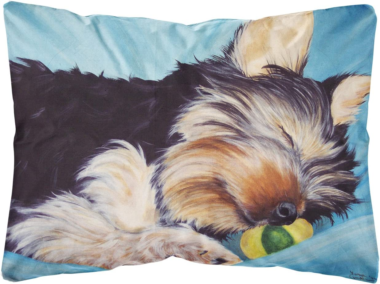 Caroline S Treasures Amb1075pw1216 Naptime Yorkie Yorkshire Terrier Fabric Decorative Pillow 12h X16w Multicolor Garden Outdoor
