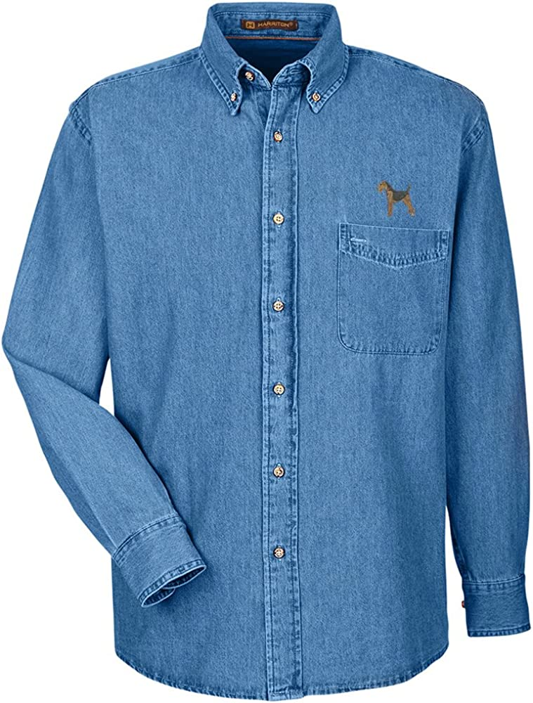YourBreed Clothing Company Airdale Terrier Embroidered Mens 100/% Cotton Denim Shirt