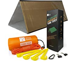 Bearhard Emergency Tent, 2 Person Tube Tent Survival Shelter with Paracord, Stakes Ultralight Survival Tent Emergency Shelter