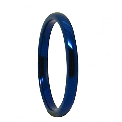 queenwish 2mm blue tungsten carbide polished traditional engagement wedding rings band comfort fit size 4