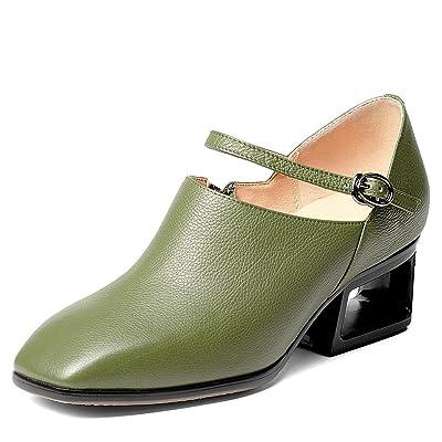 Nine Seven Genuine Leather Women's Square Toe Exquisite Heel Handmade Fashion Dress Pumps Shoes