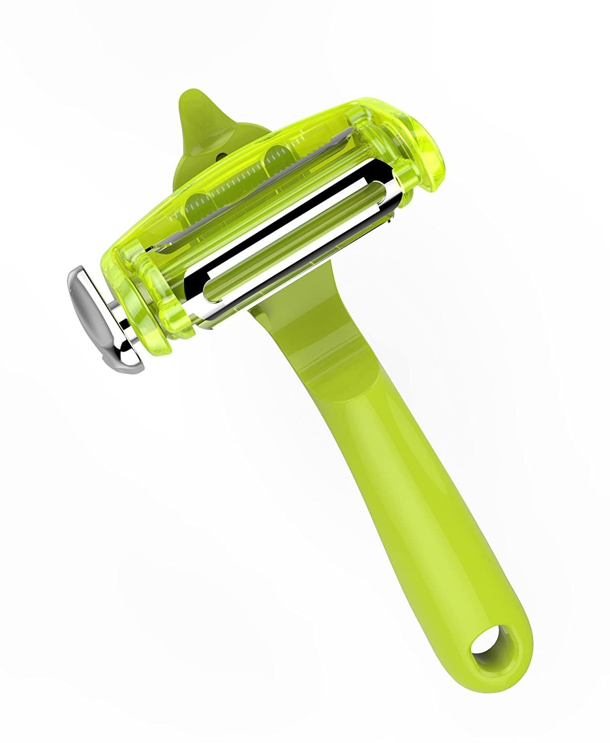 Citrus Fruit Peeler for Orange Lemon Cocktails Carrot and Potato Peeler with Rotating Serrated Straight and Julienne Stainless Steel Slicer Blades TYH Supplies 3 in 1 Julienne Vegetable Peeler