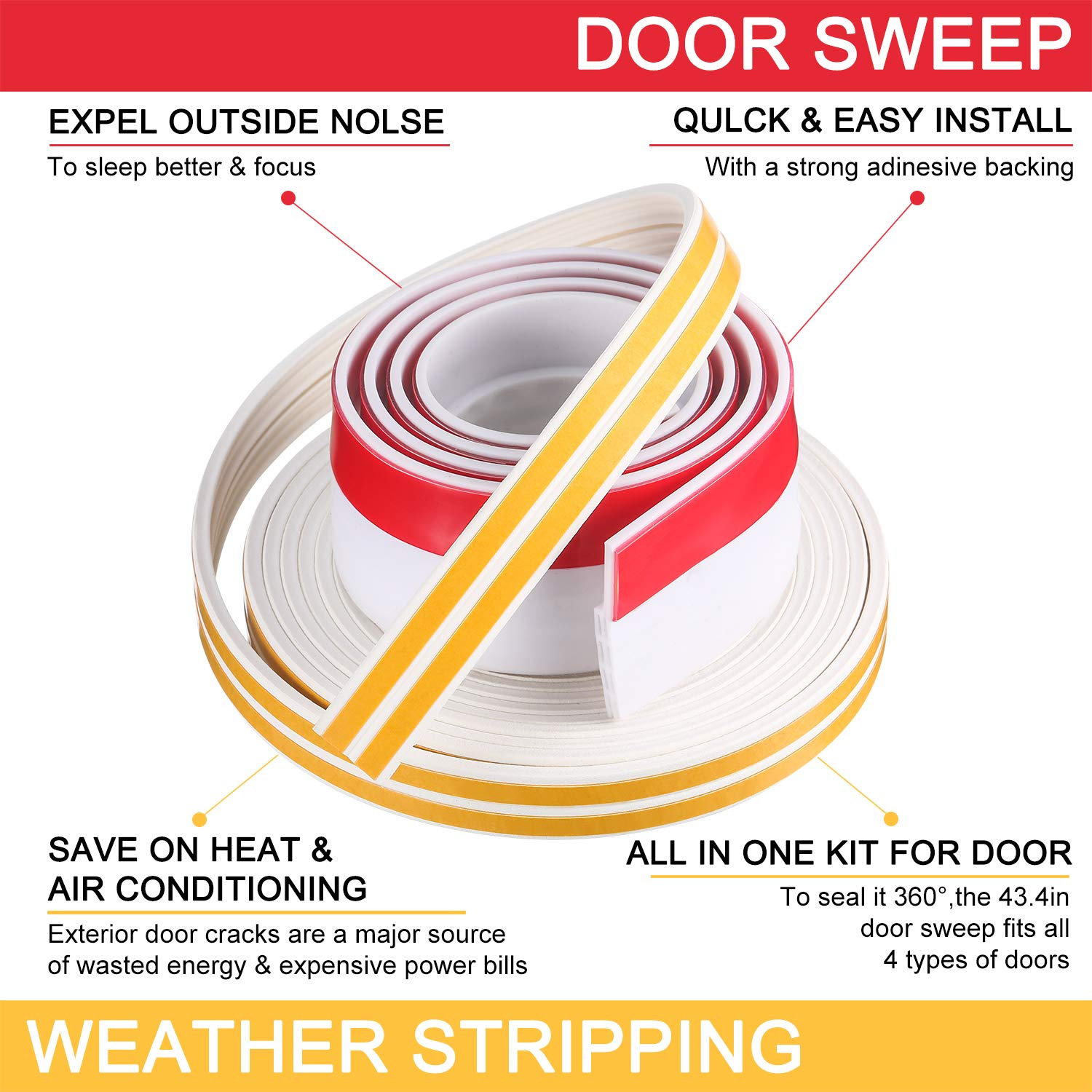 FOCCTS Draught Excluder Tape for Doors Transparent Door Window Weatherstriping Strong Adhesive Soundproofing Energy-Saving Silicone Door Bottom Strip 5 Meters