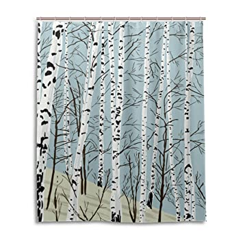 JSTEL Decor Shower Curtain Birch Tree Pattern Print 100% Polyester Fabric Shower  Curtain 60 X