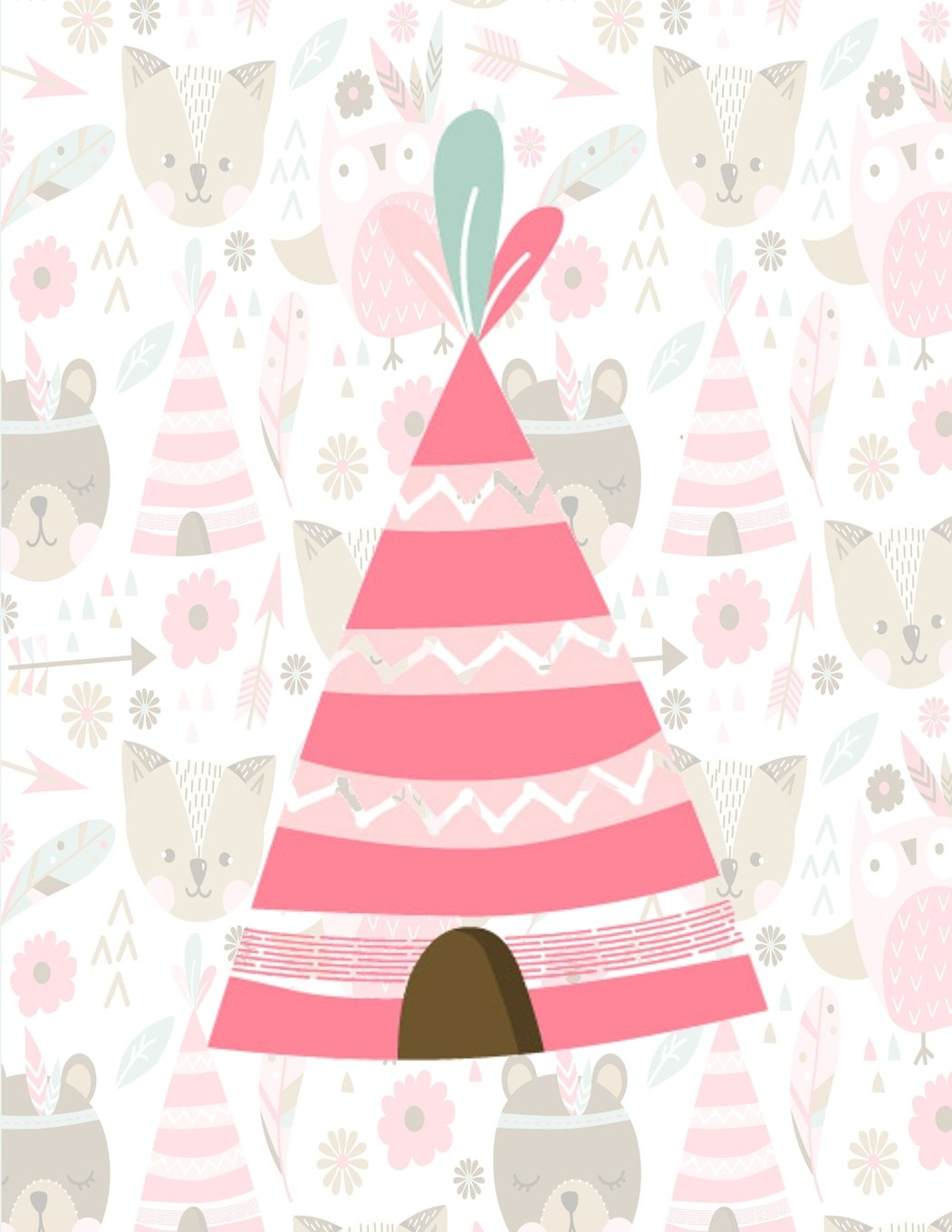 Notebook: Pretty Pink Wigwam Notebook For Girls, Large Size - Letter, Wide Ruled (Cute Animal Pattern) (Volume 5) pdf