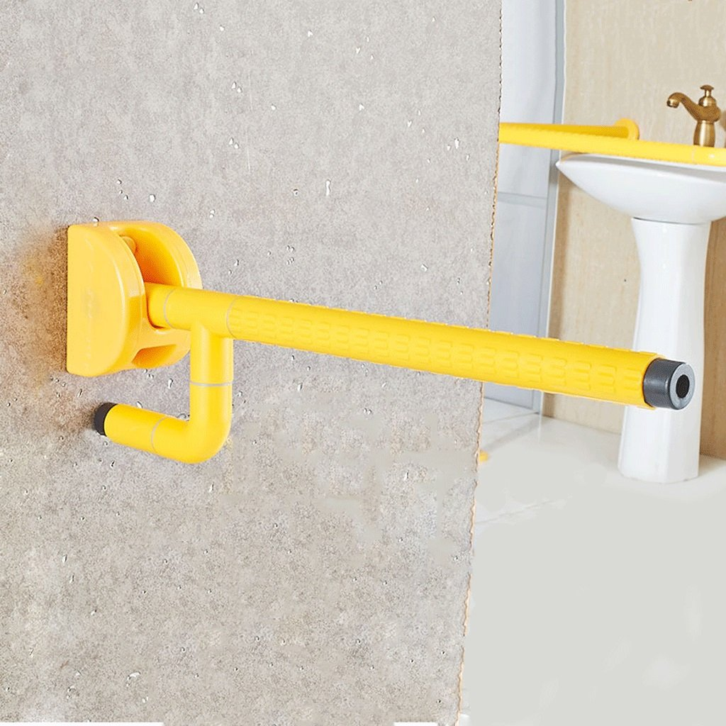 Elderly toilet armrests Accessible bathroom foldable overturned safety handrail with spring ( Color : Yellow )