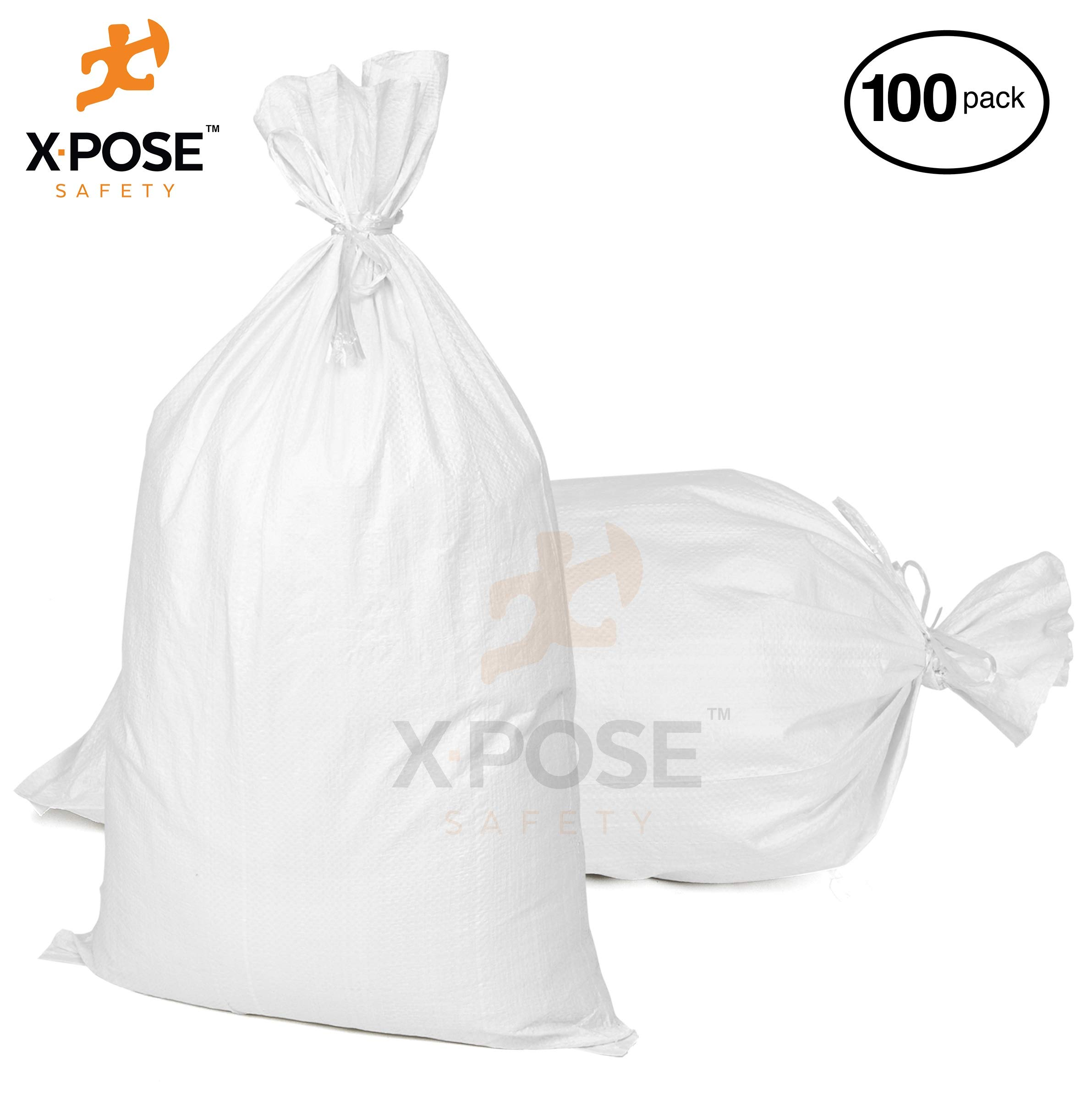 18''x30'' Empty Sand Bags, 100 Pack with Ties - Heavy Duty Woven Polypropylene, UV Sun Protection, Dust, Water and Oil Resistant - Home and Industrial - Floods, Photography and More - by Xpose Safety