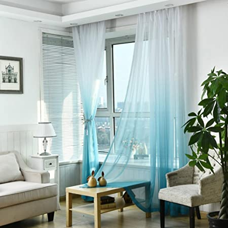 blue listing ombre curtains sheer light pocket curtain rod il
