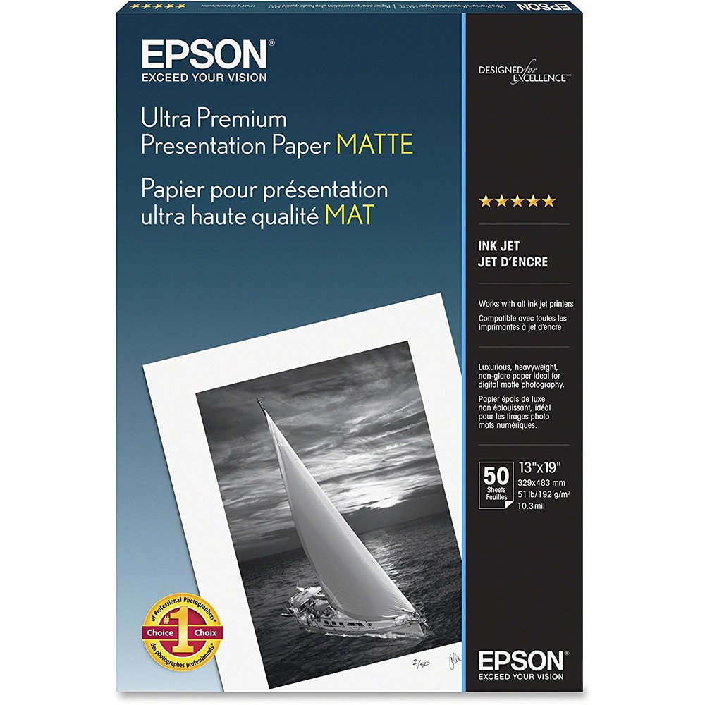 Epson Ultra Premium Presentation Paper MATTE (13x19 Inches, 50 Sheets) (S041339) EPSON AMERICA Office Supplies