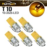 Partsam 5x 194 168 T10 10-3528-SMD Amber LED Bulbs for Roof Running Clearance Cab Marker Top Light Lamps