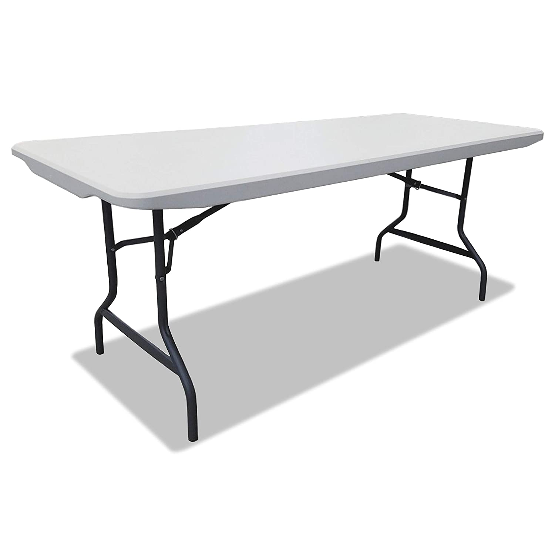 Alera Resin Rectangular Folding Table, Square Edge, 72w x 30d x 29h, Platinum