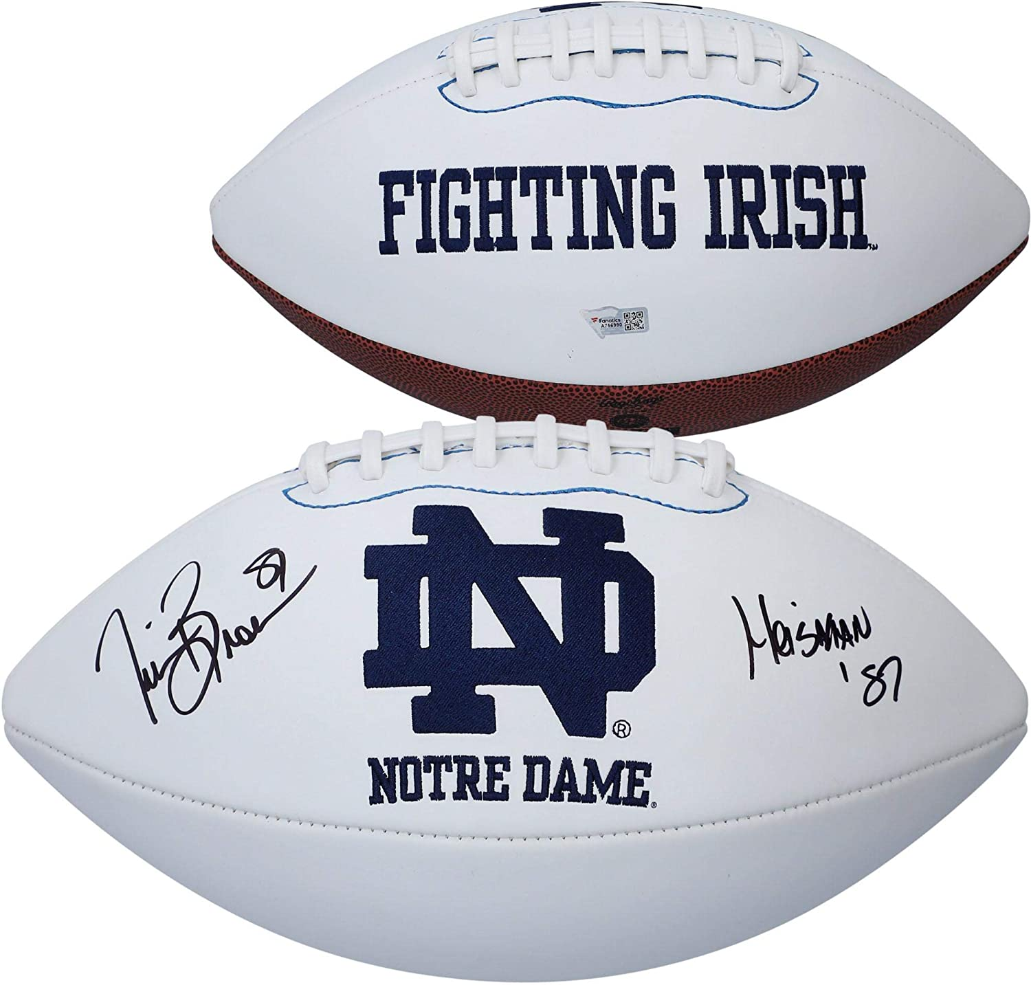Autographed College Footballs Tim Brown Notre Dame Fighting Irish Autographed White Panel Football withHeisman 87 Inscription