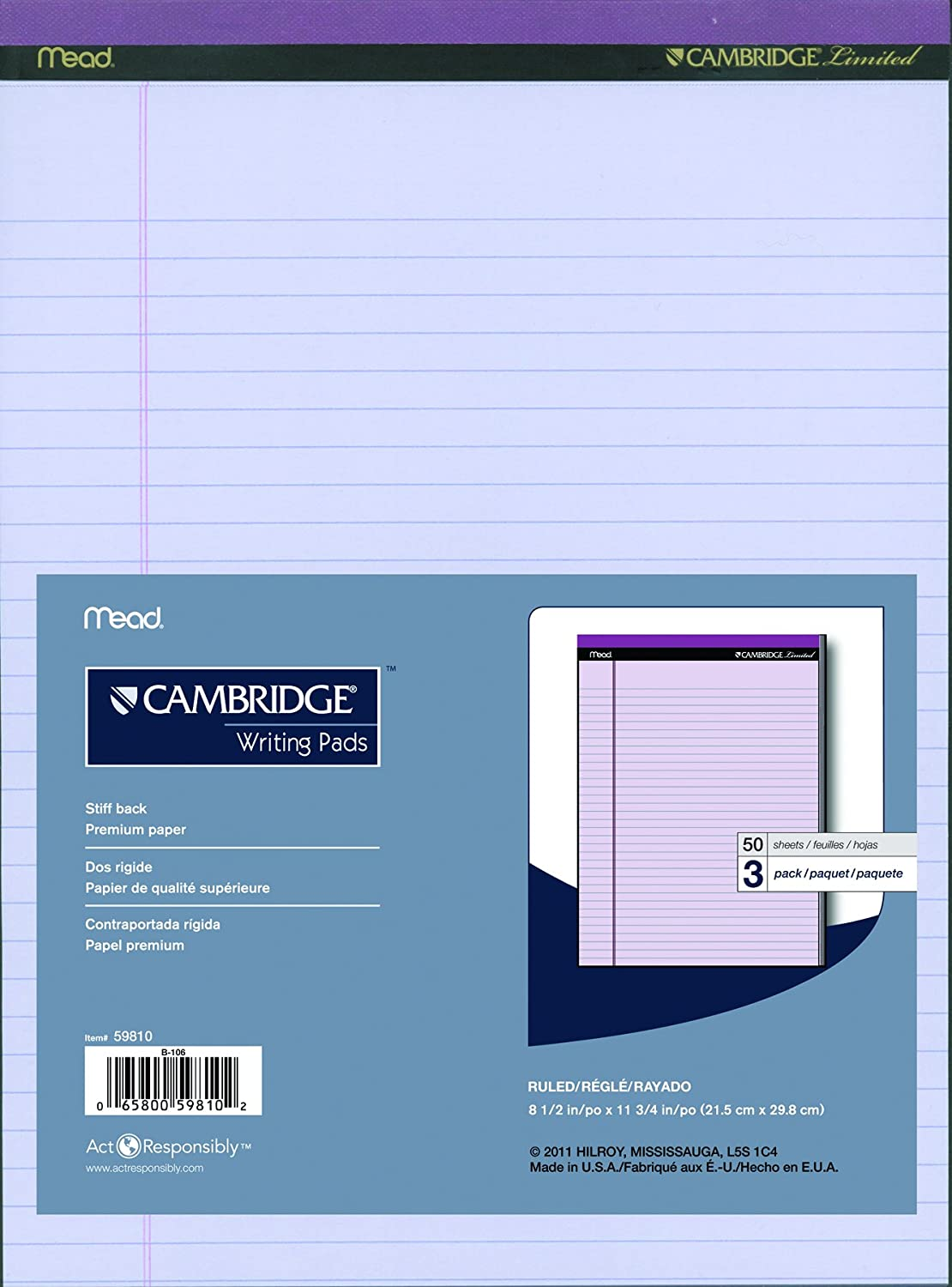 Cambridge Limited Perforated Writing Pad, 8.5 X 11 Inches, Wide Ruled, 50 Sheets, Ivory, 3/pack (59804) Ivory