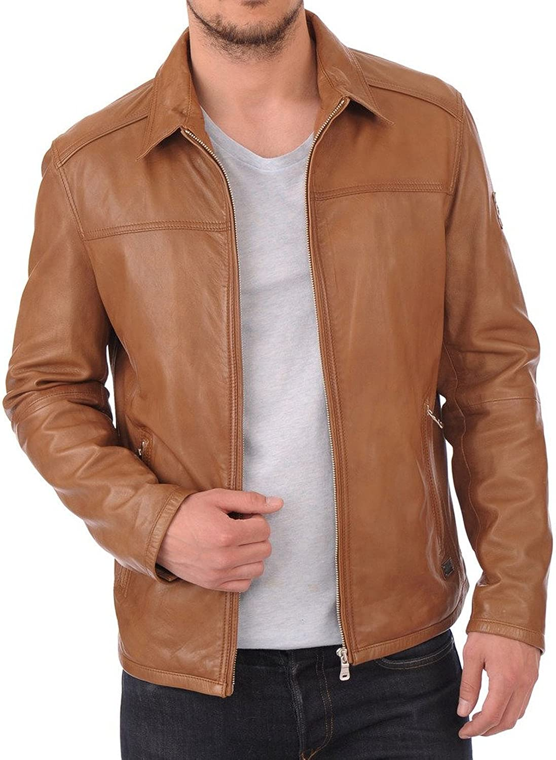 Kingdom Leather New Men Quilted Leather Jacket Soft Lambskin Biker Bomber X611