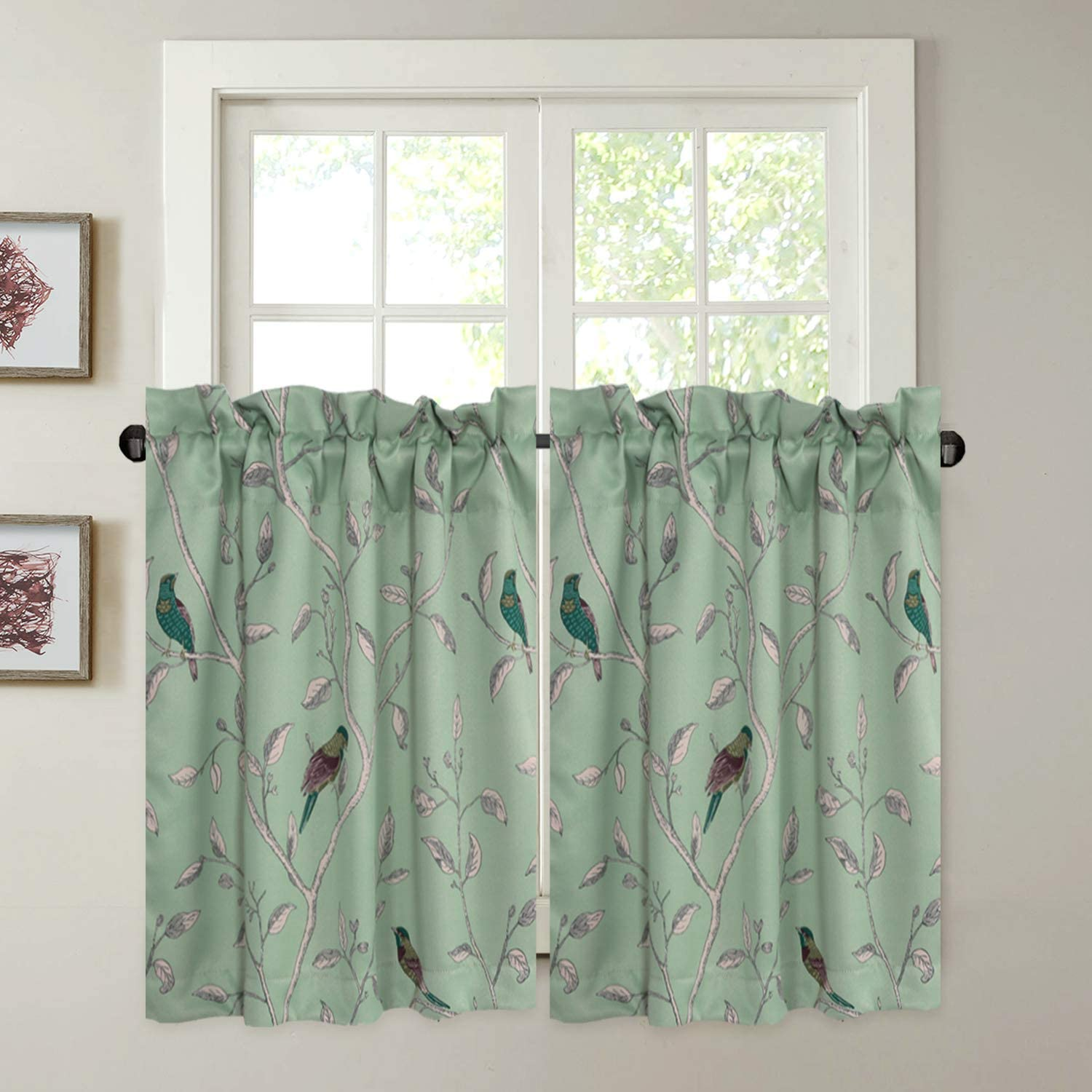 H.VERSAILTEX Ultra Soft Textured Woven Kitchen Curtains, Rod Pocket Window  Curtain Tiers for Café/Bath/Laundry/Bedroom - Sage Base with Turquoise ...