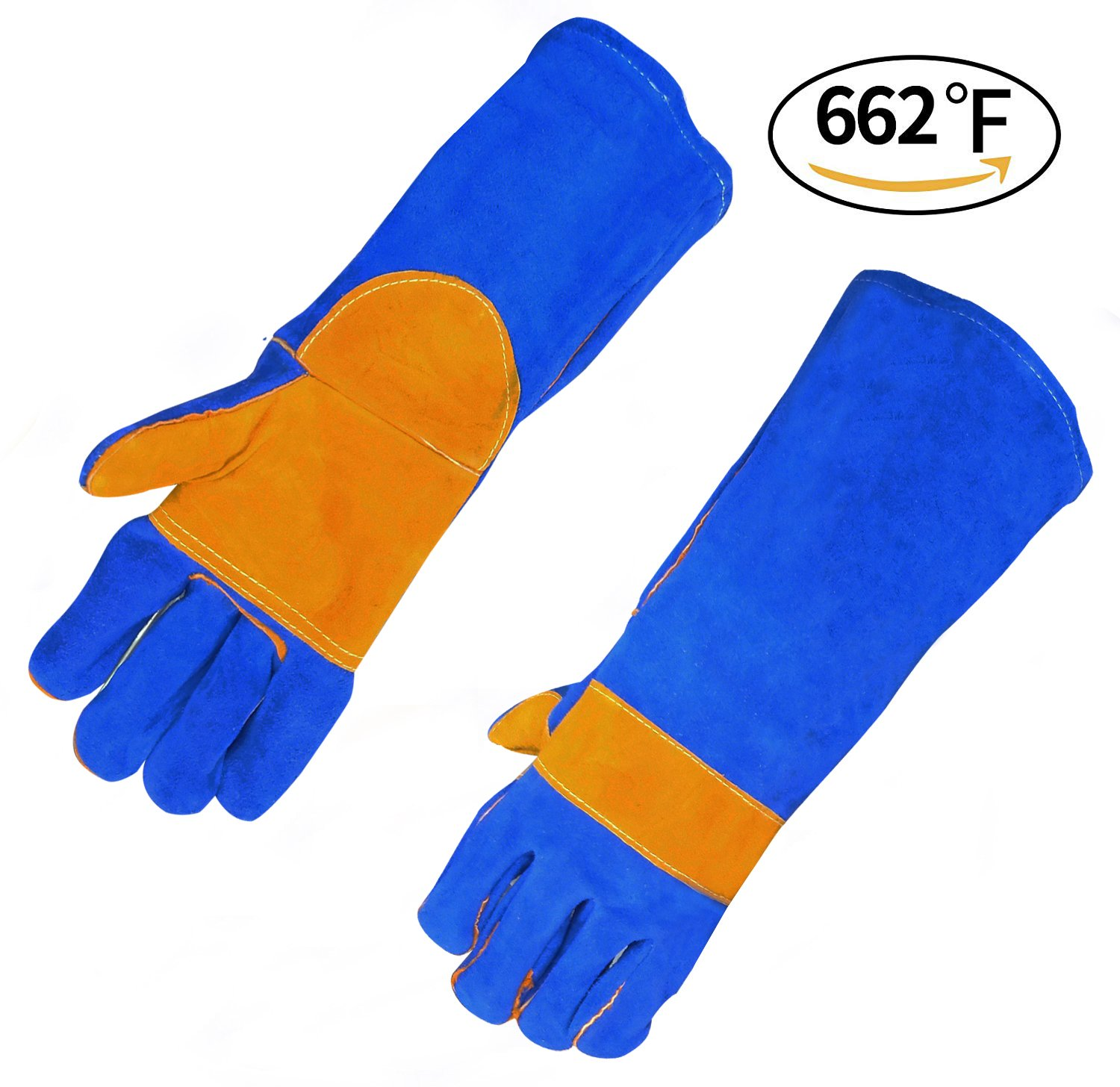 Fantran Leather Forge Welding Gloves With Heat & Fire Resistant, Best for Welding & Oven & Grill & Fireplace & Stove & BBQ – Soft Cotton Lining With 16 inches Long Sleeve. (blue)