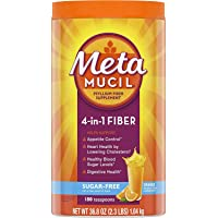 Metamucil Sugar-Free Fiber Supplement, 180 Servings, 4-in-1 Psyllium Husk Powder, Orange Flavored Drink, 36.8 Ounce, 2.3 Pound (Pack of 1)