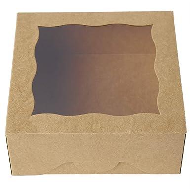 One more Cajas de panadería marrón de 15,2 cm con ventana de PVC ...