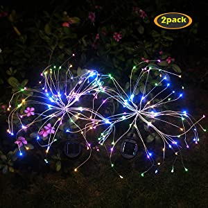Amashop Outdoor Solar Garden Lights,105 LED Solar Powered Decorative Stake Landscape Light DIY Flowers Fireworks Stars for Walkway Pathway Backyard Christmas Party Decor 2 Pack(Mulit-Color)