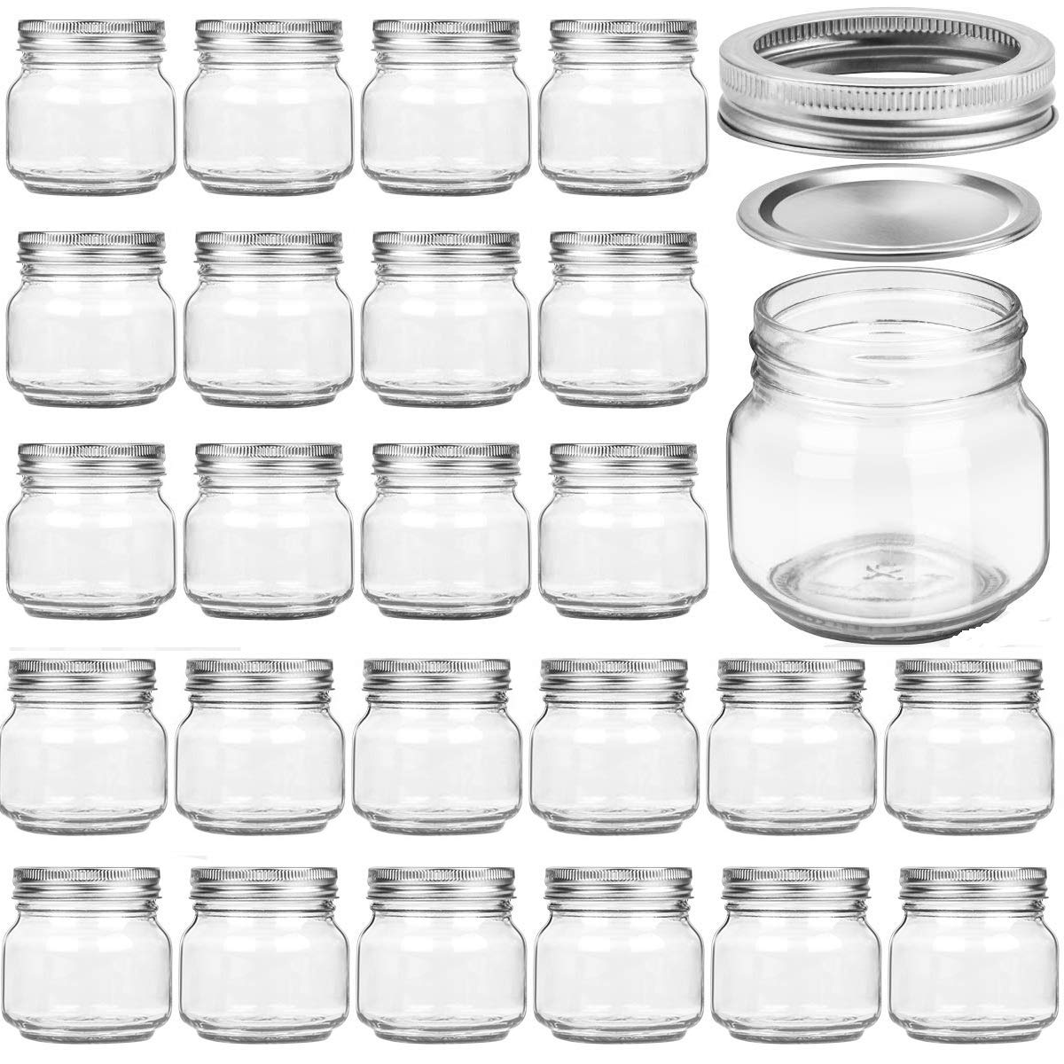 24 PACK Mason Jars 8OZ With Regular Silver Lids and Bands, Ideal for Jam, Honey, Wedding Favors, Shower Favors, Baby Foods, DIY Magnetic Spice Jars, 24 Whiteboard Labels Included by PREMIUM VIALS CREATIVE PACKAGING SOLUTIONS
