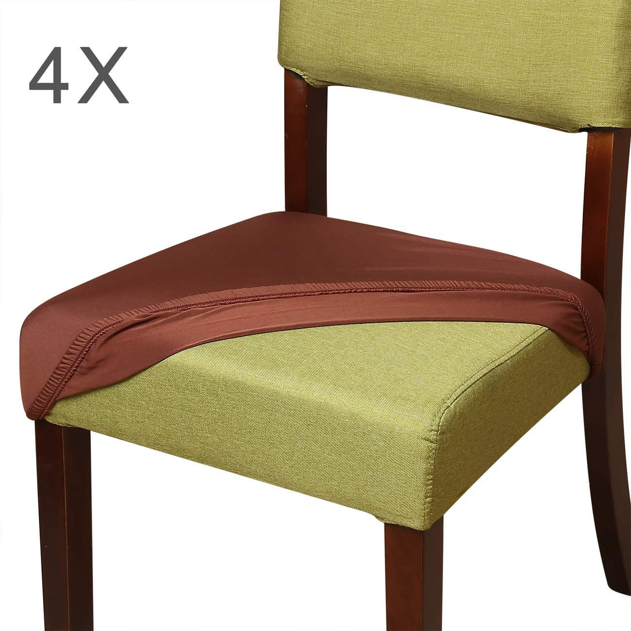 Aonepro Chair Seat Covers,4 Pcs Stretch Spandex Dining Chair Cover Slipcovers, Office Chair Protectors for 14-21 Inches Seat - Black/Coffee Brown (4pcs Seat Covers - 18 inch, Coffee)
