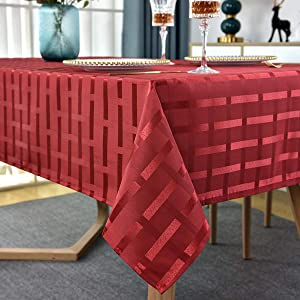 Red Rectangle Tablecloth Plaid Jacquard Table Cloth Spill-proof Tablecloths Shrink Proof Table Cover Wrinkle Proof Tabletop for Kitchen Dining Patio (Rectangle/Oblong, 52