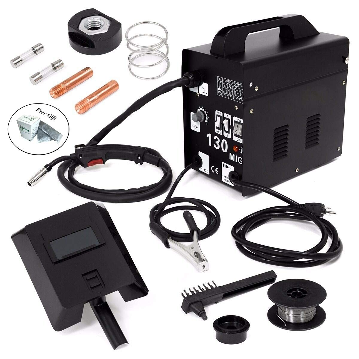 Auto Feeder MIG130 Gasless Flux Core Wire Welder Welding Machine Cooling Fan Only by eight24hours + SPECIAL GIFT