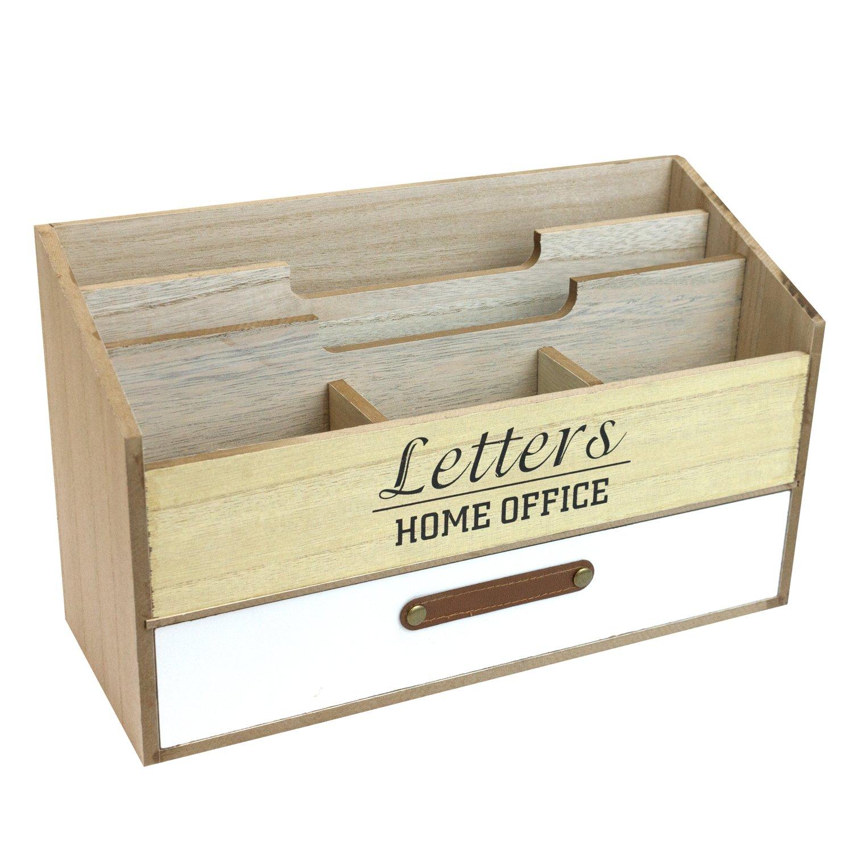 Schreibtischorganizer mit 5 Fächer und 1 Schublade Briefablage aus Holz Stehsammler Organizer Multistore 2002