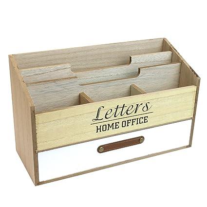 Organizador de escritorio con 5 compartimentos y 1 cajón – Bandeja para cartas de madera revistero Organizador