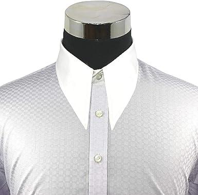 WhitePilotShirts Hombre 1930s 1940s Spear Punto Largo Cuello Accesorio Camisa Vintage Lila Cuadros 100% Algodón Manga Larga Hombre - Lila, 15: Amazon.es: Ropa y accesorios