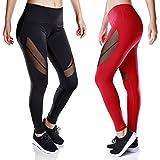 Women Workout Leggings Black Mesh High Waist Sport Capris Yoga Pants with Pocket