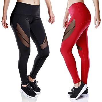 Amazon.com : Women Capri Workout Pants w Black Mesh - High Waist ...