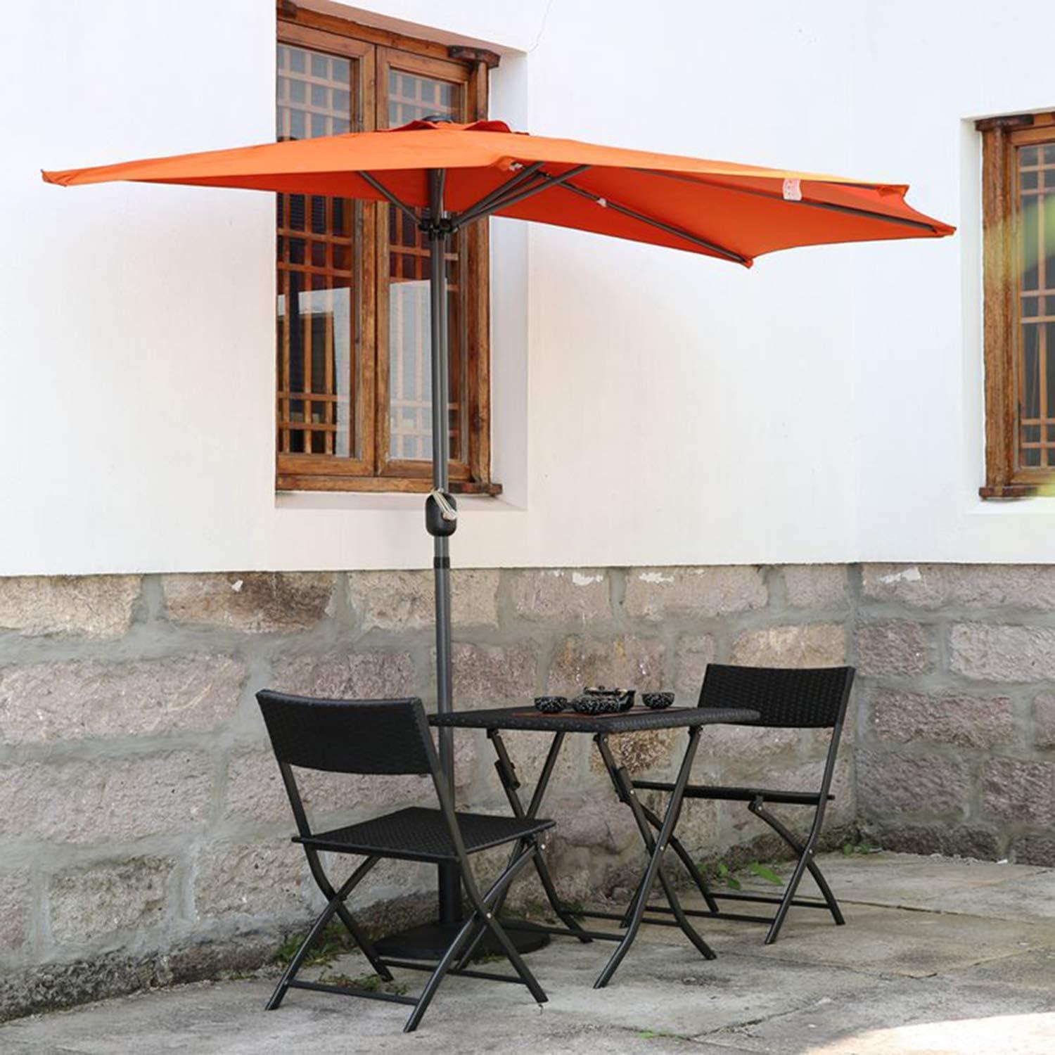 Angel Living Half Circular Parasol, Sombrilla Semicircular 270cm de Aluminio, Mástil Central de Aluminio de 38 mm, para Jardín Patio (Terracota)