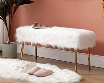 Amazon Com Guyou Modern Long Faux Fur Ottoman Bench Footrest Stool Bed End 17 7 H 2 Man Bench Seat With Gold Metal Legs For Bedroom Living Room Entryway White Kitchen Dining