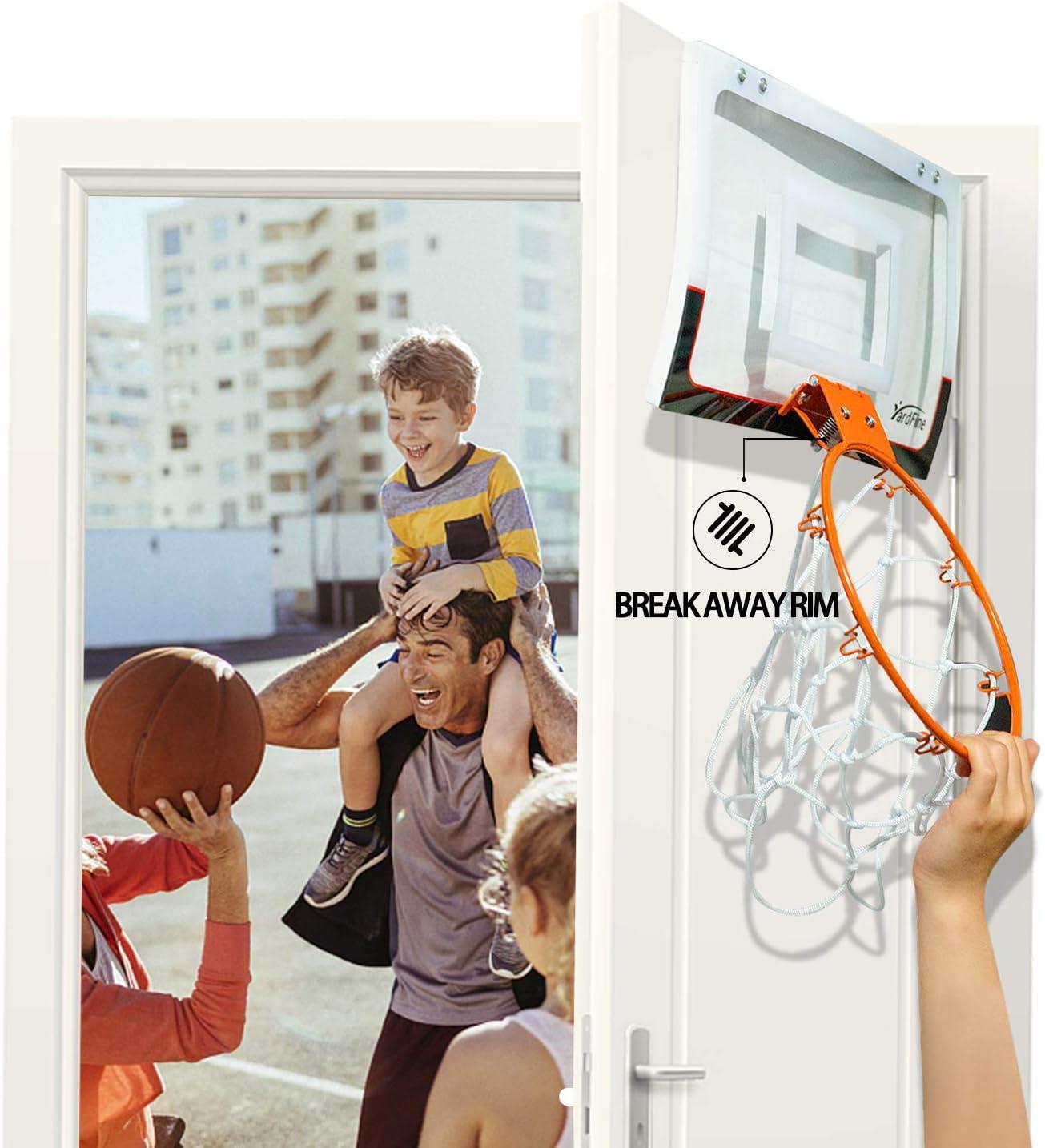 YardFine Mini Basketball Hoop for Door with Basketball /& Pump Indoor Over The Door Hoop Gift for Boys