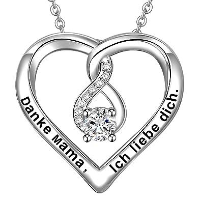 2919050f82 LOVORDS Damen Halskette Gravur 925 Sterling Silber Herz Unendlichkeits Kette  Anhänger Mutter Geschenk für Mama