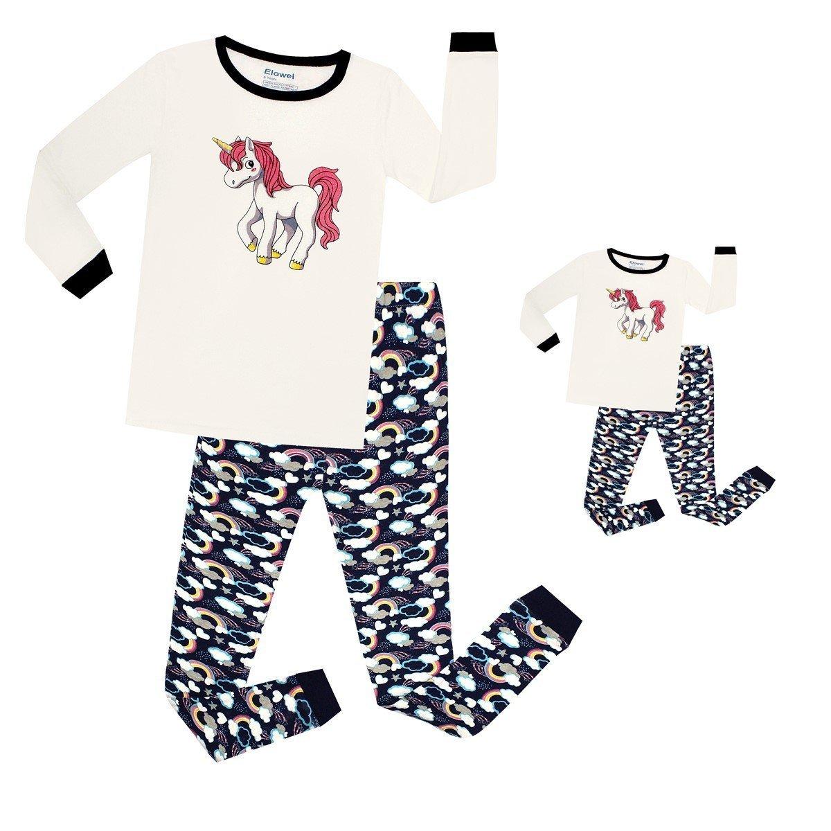 Elowel Unicorn Matching Girl & Doll 2 Piece Pajama Set 100% Cotton (Size 2-12 Years) Elowel Pajamas LFT1713B