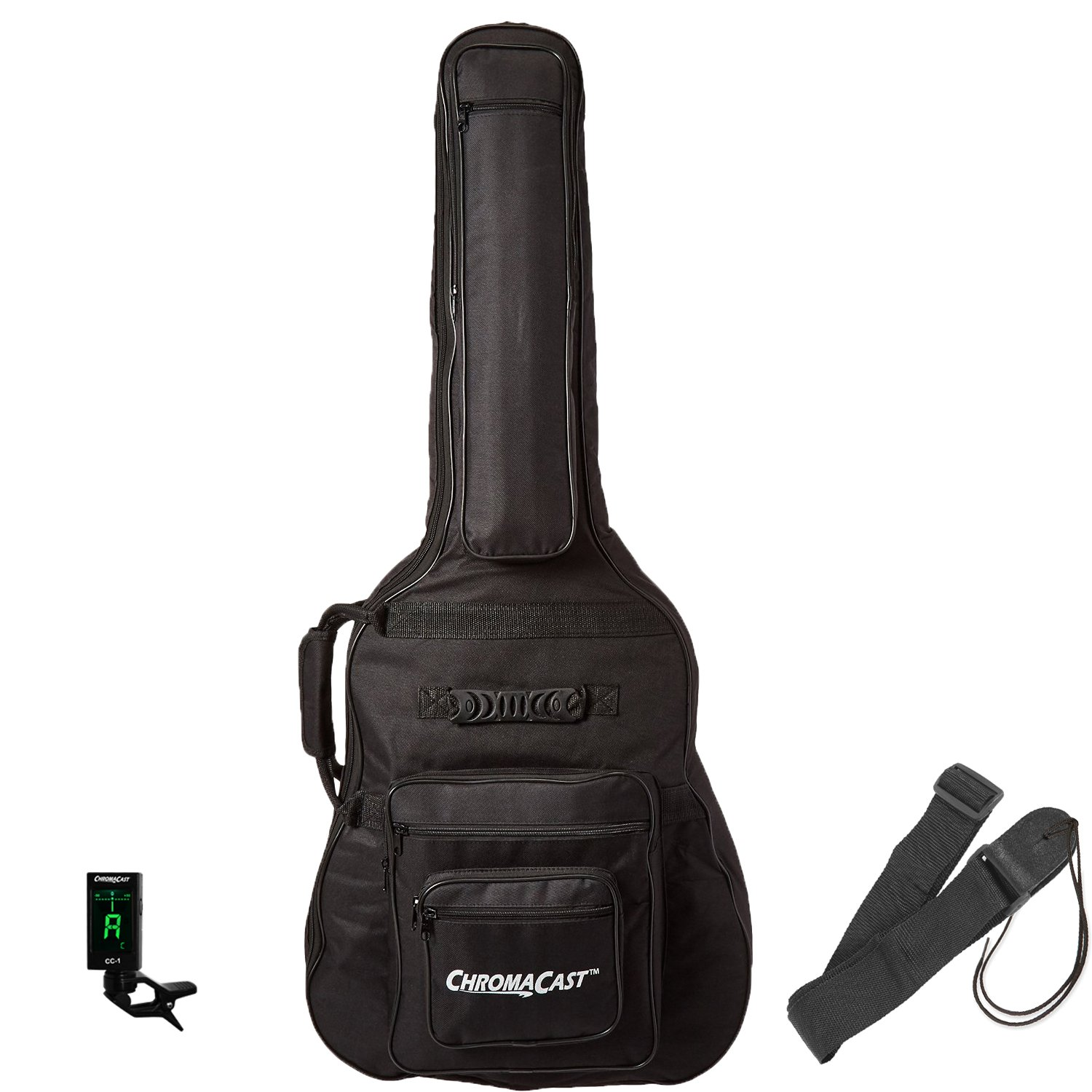 ChromaCast Acoustic Guitar Padded Gig Bag with Guitar Strap and Clip-On Tuner CC-APB-BAG-KIT-2