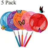"""Bestie-Gear Telescopic Butterfly Net, Perfect for Catching Bugs Insect Small Fish, Extendable up to 34"""" for Kids (5 Packs)"""