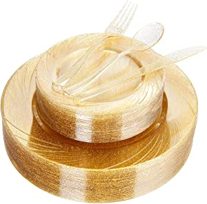 WDF 40Guest Gold Plates with Disposable Plastic Silverware ,Gold Glitter Design Plastic Tableware sets include 40 Dinner Plates,40 Salad Plates,40Forks, 40 Knives, 40 Spoons (Gold Glitter Dinnerware)