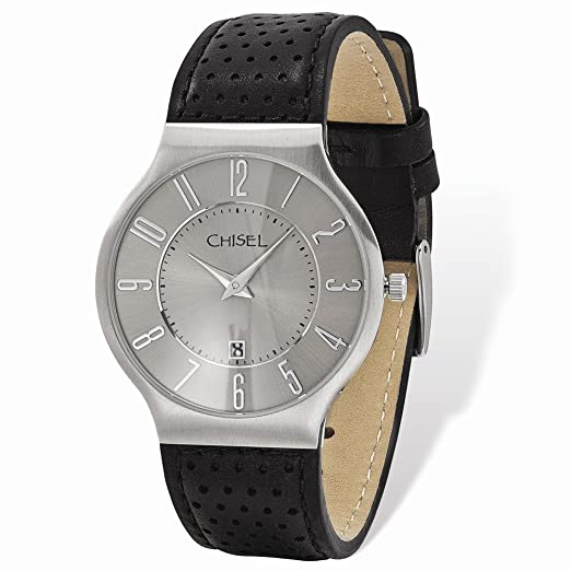 8831cda364fa Image Unavailable. Image not available for. Color  Chisel Stainless Steel  Grey Dial Black Leather Mens Watch
