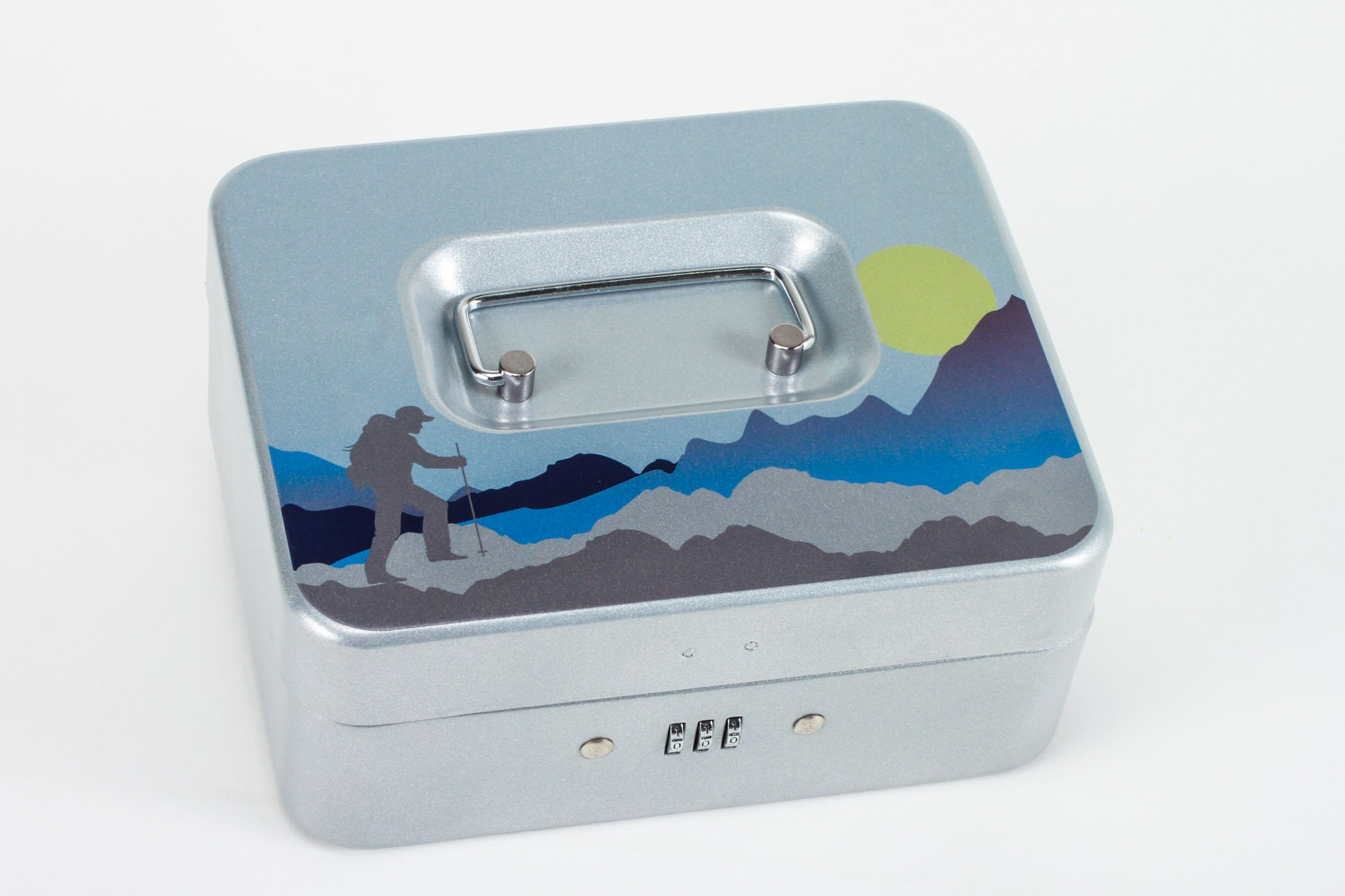Mountineer Hiker | Personal Combination Lock Box | Medication Lock Box (Silver, Small)